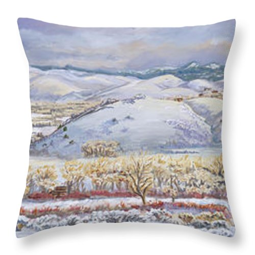 Landscape Throw Pillow featuring the painting Winter Panorama From The River Mural by Dawn Senior-Trask
