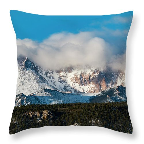 Pikes Peak Throw Pillow featuring the photograph Winter Receding On Pikes Peak by Steve Krull