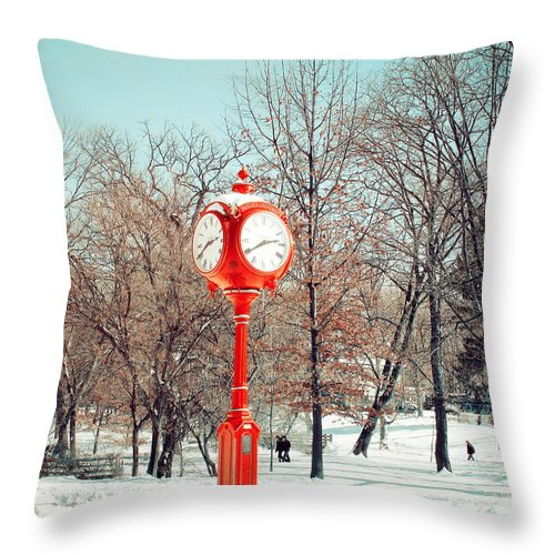 Indiana University Throw Pillow featuring the photograph Winter Red by Lucy Bruce