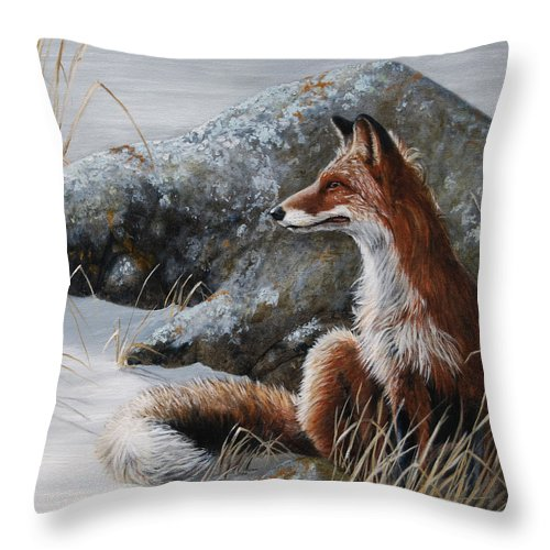 Red Fox Throw Pillow featuring the painting Winter Respite by Dreyer Wildlife Print Collections