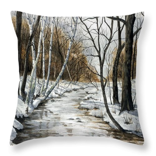 Minnesota Throw Pillow featuring the painting Winter River by Mary Tuomi