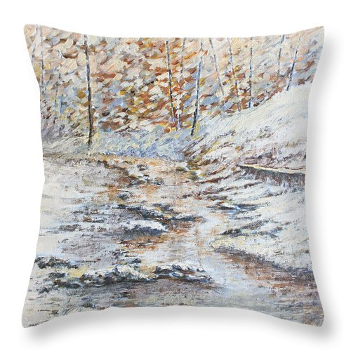 Landscape Throw Pillow featuring the painting Winter River by Todd Blanchard