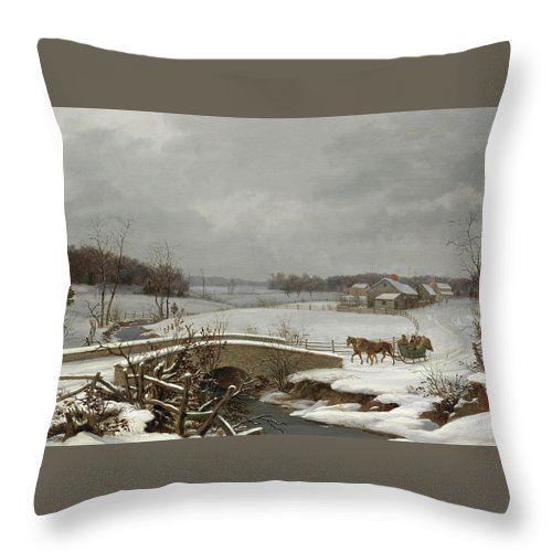 Thomas Birch Throw Pillow featuring the painting Winter Scene In Pennsylvania by Thomas Birch