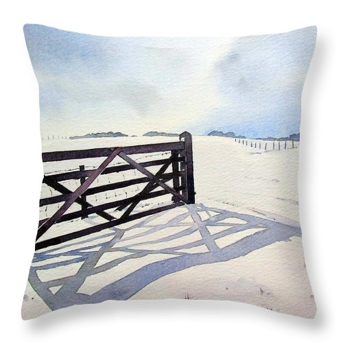 Landscape Throw Pillow featuring the painting Winter Scene With Gate by Paul Dene Marlor