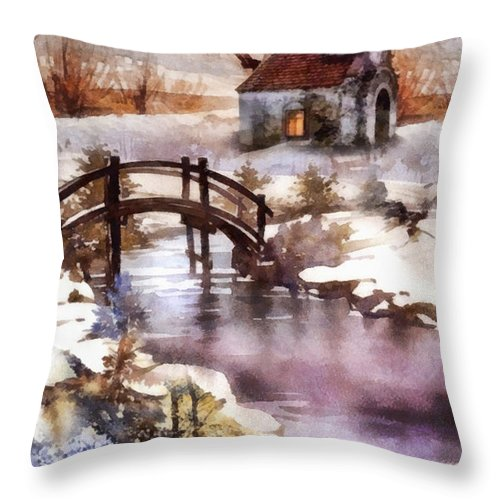 Winter Shelter Throw Pillow featuring the painting Winter Shelter by Mo T