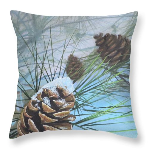 Pinecone Throw Pillow featuring the painting Winter Silence by Hunter Jay