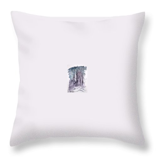 Watercolor Landscape Painting Throw Pillow featuring the painting Winter Snow Landscape Painting Print by Derek Mccrea