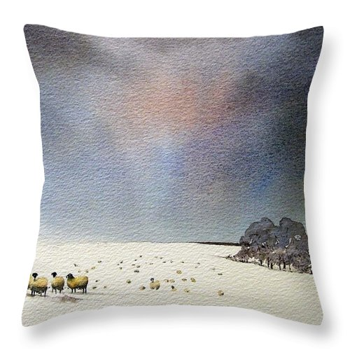 Landscape Throw Pillow featuring the painting Winter Snow Swaledale by Paul Dene Marlor