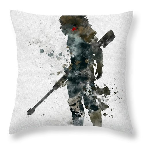 Winter Soldier Throw Pillow featuring the mixed media Winter Soldier by My Inspiration