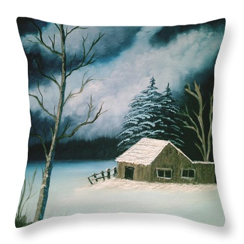 Winter Landscape Throw Pillow featuring the painting Winter Solitude by Jim Saltis