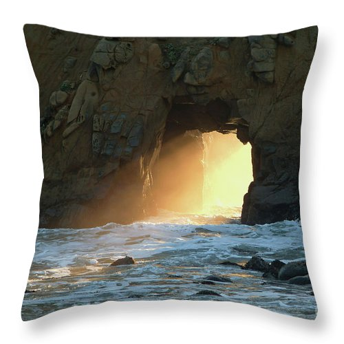 Nature Throw Pillow featuring the photograph Winter Solstice Sunset In Big Sur by Charlene Mitchell
