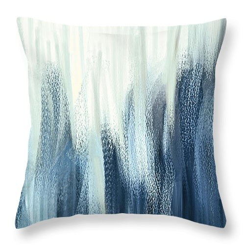 Winter Sorrows Blue And White Abstract Throw Pillow For Sale By Lourry Legarde