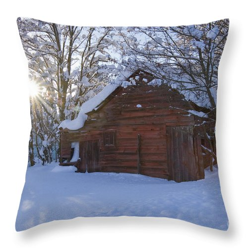 Red Throw Pillow featuring the photograph Winter Stable by Idaho Scenic Images Linda Lantzy