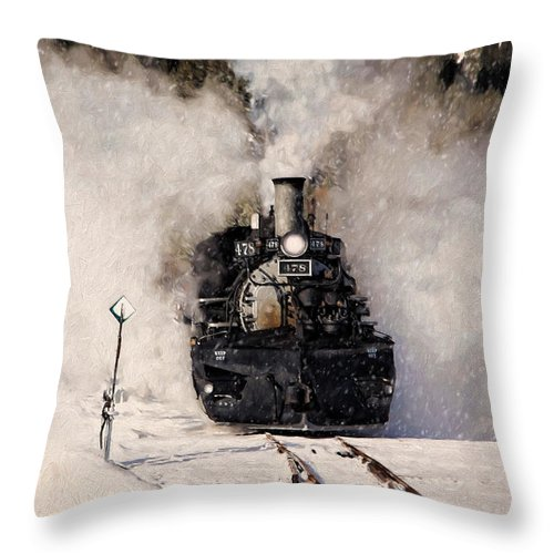 Steam Train Throw Pillow featuring the photograph Winter Steam At Rockwood Colorado by Ken Smith