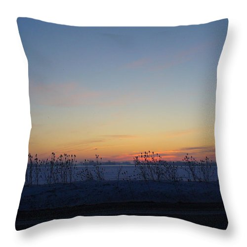 Sunrise Throw Pillow featuring the photograph Winter Sunrise In Lambton County by Peggy King