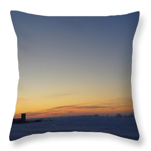 Photography Throw Pillow featuring the photograph Winter Sunrise Over The Farm by Peggy King