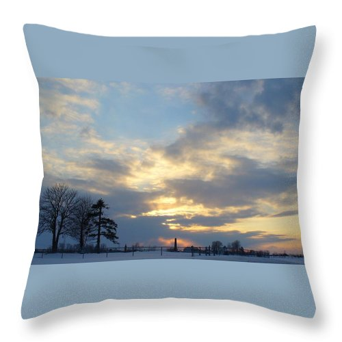 Sunset Throw Pillow featuring the photograph Winter Sunset - Lambton County by Peggy King