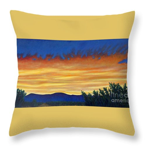 Sunset Throw Pillow featuring the painting Winter Sunset In El Dorado by Brian Commerford