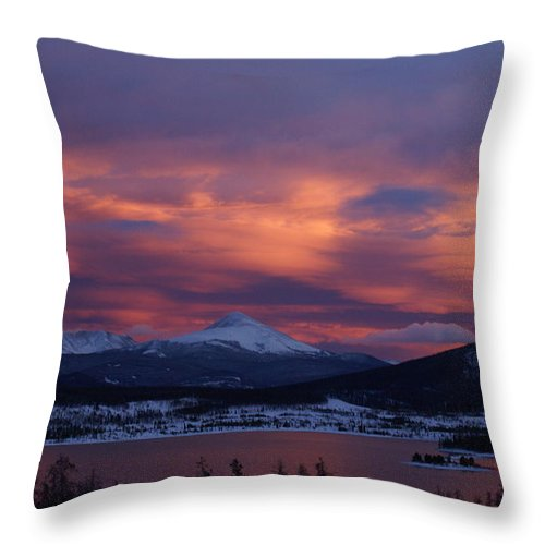 Winter Sunset Throw Pillow featuring the photograph Winter Sunset by Mary Ourada