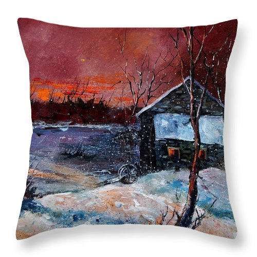 Winter Throw Pillow featuring the painting Winter Sunset by Pol Ledent