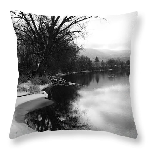 Black And White Throw Pillow featuring the photograph Winter Tree Reflection - Black and White by Carol Groenen