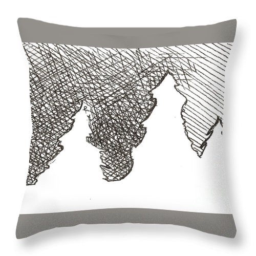 Trees Throw Pillow featuring the drawing Winter Trees 1 - Aceo by Joseph A Langley
