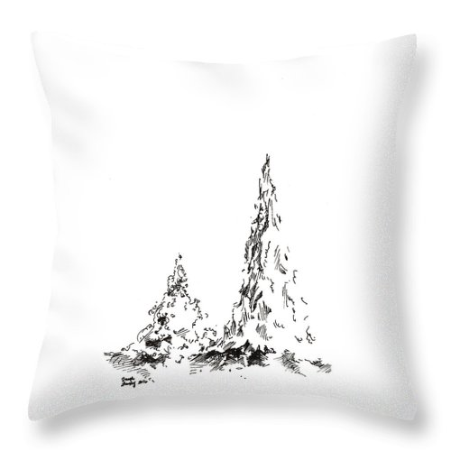 Trees Throw Pillow featuring the drawing Winter Trees 2 - 2016 by Joseph A Langley