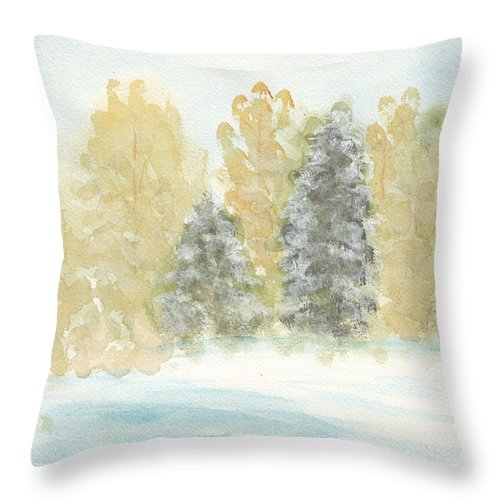 Winter Throw Pillow featuring the painting Winter Trees by Ken Powers
