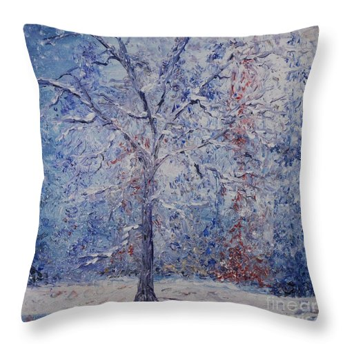 Winter Throw Pillow featuring the painting Winter Trees by Nadine Rippelmeyer