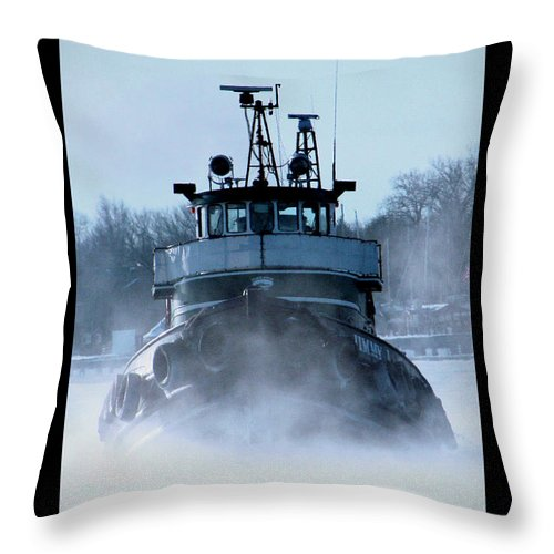 Tug Throw Pillow featuring the photograph Winter Tug by Tim Nyberg