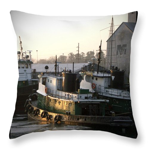 Tugs Throw Pillow featuring the photograph Winter Tugs by Tim Nyberg