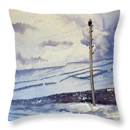 Glenn Marshall Yorkshire Artist Throw Pillow featuring the painting Winter Walkers by Glenn Marshall