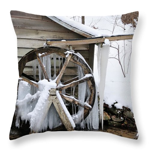 Mill Throw Pillow featuring the photograph Winter Wheel by David Arment