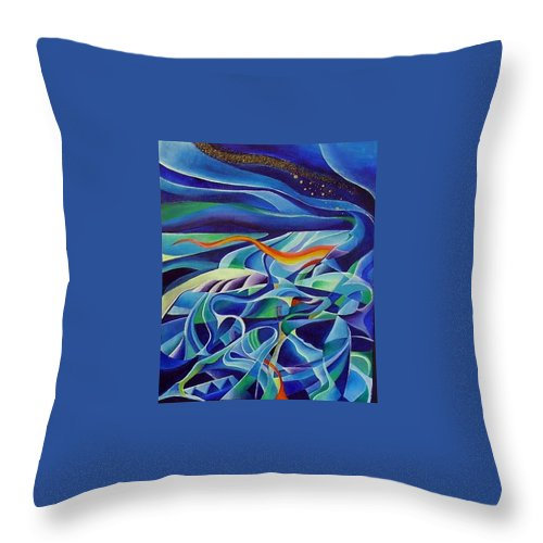 Winter Vivaldi Music Abstract Acrylic Throw Pillow featuring the painting Winter by Wolfgang Schweizer