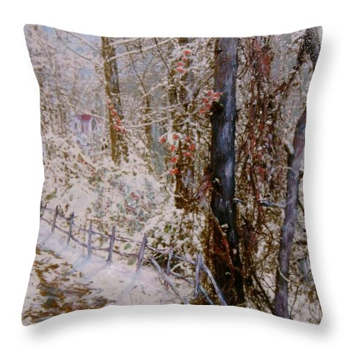 Snow; Trees Throw Pillow featuring the painting Winter Wonderland by Ben Kiger