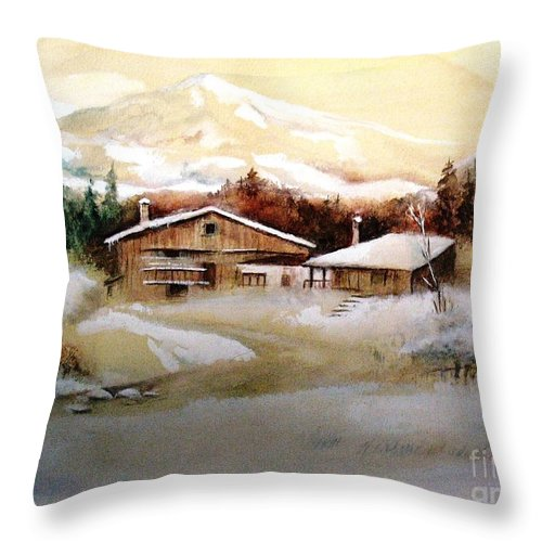 Snow Throw Pillow featuring the painting Winter Wonderland by Hazel Holland