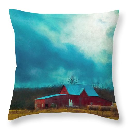 Barn Throw Pillow featuring the photograph Winter's Arrival by Anna Louise