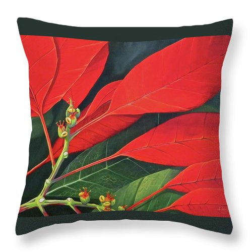 Poinsettia Throw Pillow featuring the painting Winter's Child by Hunter Jay