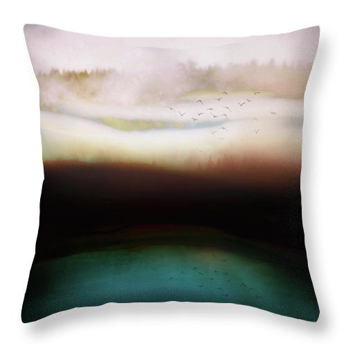 Abstract Throw Pillow featuring the digital art Winters Day by Katherine Smit