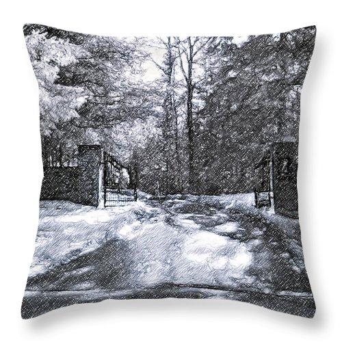 Winter Throw Pillow featuring the photograph Winter's Gates by Steve Harrington