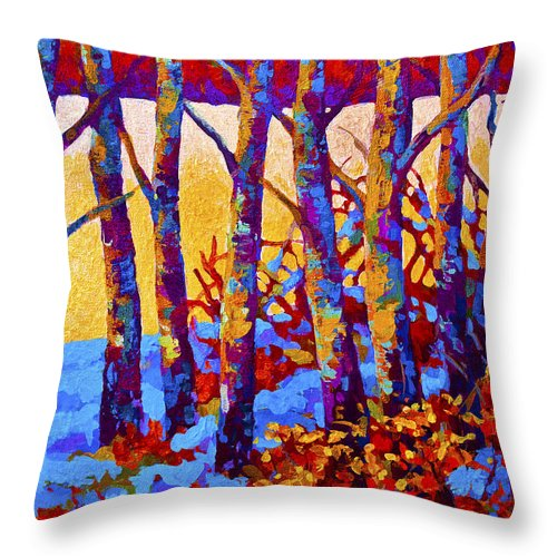Trees Throw Pillow featuring the painting Winter's Promise by Marion Rose