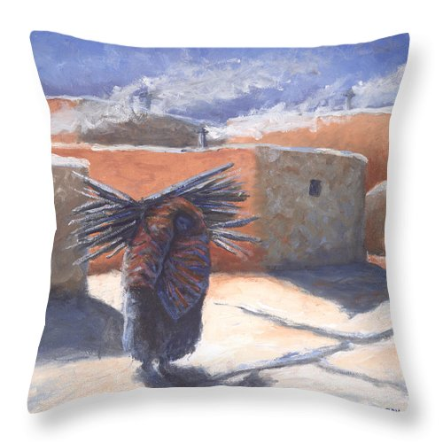 Adobe Throw Pillow featuring the painting Winter's Work by Jerry McElroy