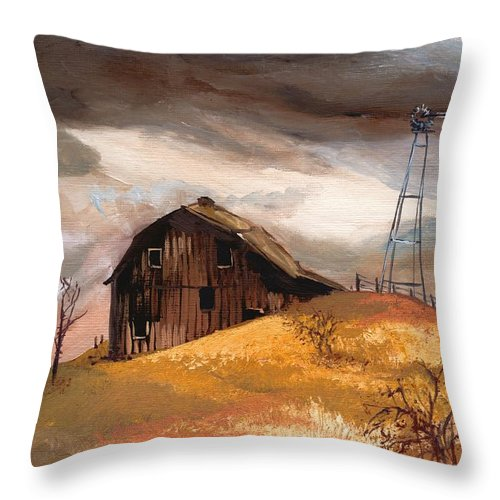 Stormclouds Throw Pillow featuring the painting Winterstorm by Mona Davis
