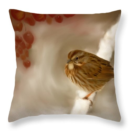Wintertime Sparrow Throw Pillow featuring the painting Wintertime Sparrow by Beve Brown-Clark Photography