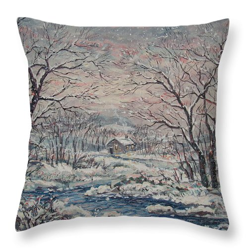 Landscape Throw Pillow featuring the painting Wintery December by Leonard Holland