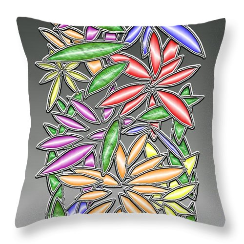 Abstract Throw Pillow featuring the digital art Wire Flowers by Mark Sellers