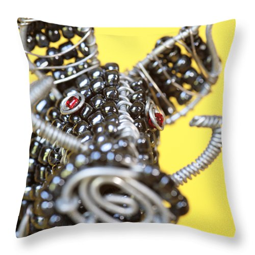 Warthog Throw Pillow featuring the photograph Wire Warthog by Neil Overy