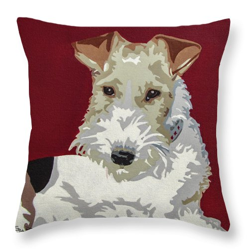 Wire Fox Terrier Throw Pillow featuring the painting Wirehaired Fox Terrier by Slade Roberts