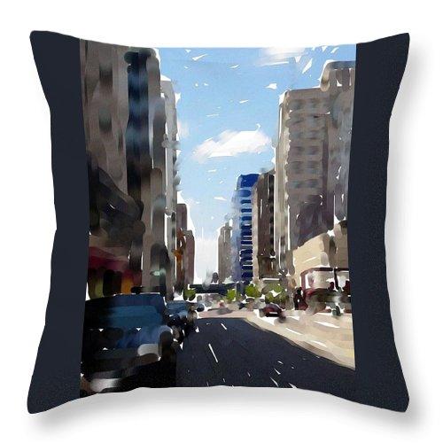 Milwaukee Throw Pillow featuring the digital art Wisconsin Ave 2 by Anita Burgermeister