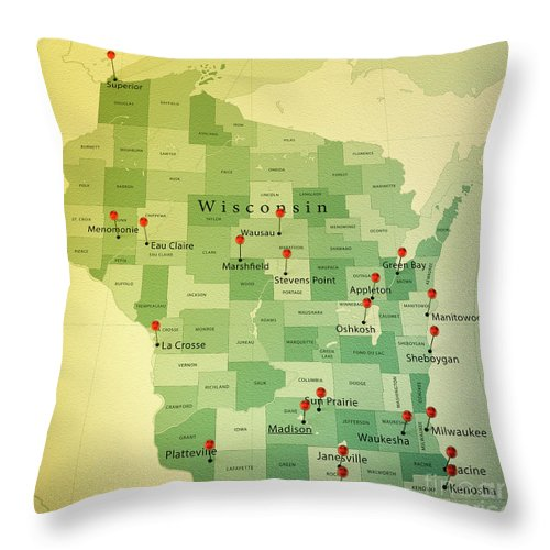Cartography Throw Pillow featuring the digital art Wisconsin Map Square Cities Straight Pin Vintage by Frank Ramspott